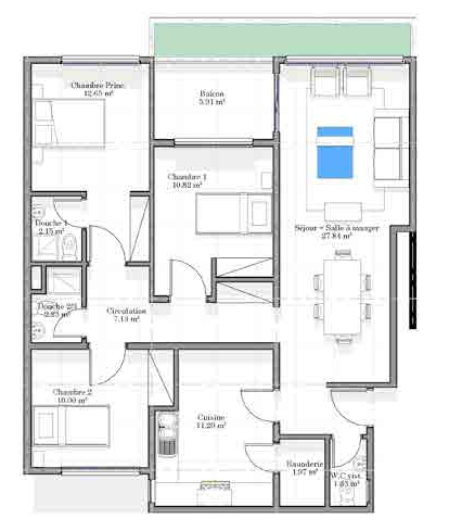 Appartement type 3 chambres / Salon